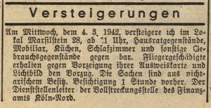 """Anzeige über Versteigerungen von Hausrat aus """"nicht-arischem Besitz"""" aus dem ...Durch diese Rassengesetze war die gewünschte Ausgrenzung der Juden vollzogen, ... Phase der Judenverfolgung, die mit der Enteignung der Juden begann."""