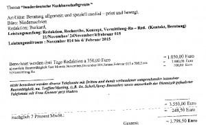 """Rechnung für """"mediale Beratung > gesamt 3.798,50 €"""