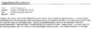 Mail von Burkard an Kneuer : Sie lassen sich telefonisch einen Termin geben.......